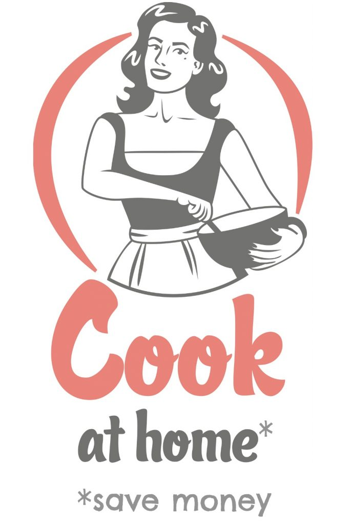 character of a woman in apron stirring  a bowl with the text Cook At Home Save Money under it